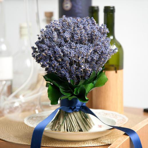 Eben geschnittene Stiele lassen den Lavendelstrauß auch ohne Vase stehen.