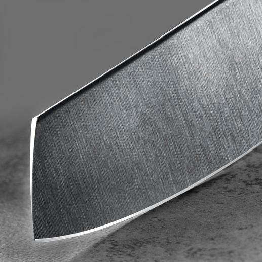 Die 60 HRC* harte Klinge ist zusätzlich mit Diamond-like Carbon (DLC) beschichtet. Deren niedrigen Reibwerte sorgen für eine gute Gleitfähigkeit.