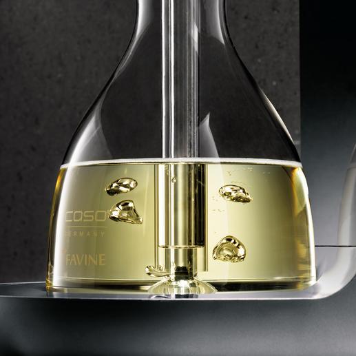 Das Geheimnis: Hochkonzentrierter Sauerstoff steigt vom Boden des Dekanters auf und belüftet den gesamten Wein - statt nur die Oberfläche.