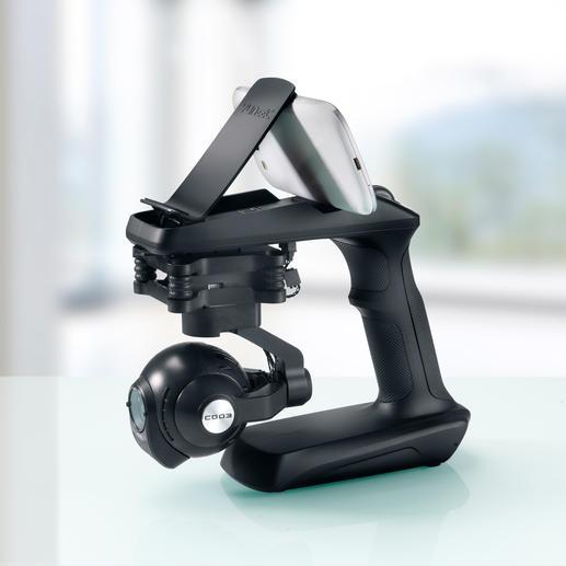 Die kardanische Gimbal-Aufhängung ermöglicht der Kamera die dreidimensionale Bewegung.