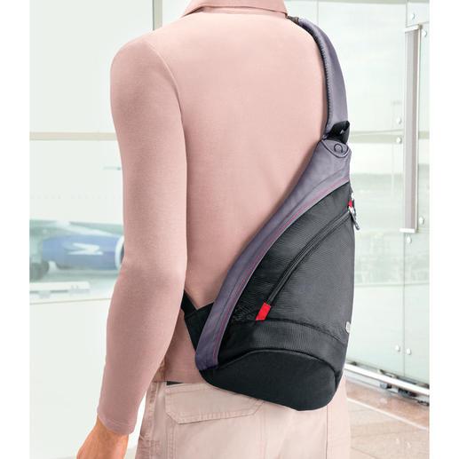 Die ca. 300 g leichte Tasche schultern Sie bequem auf längeren Strecken.