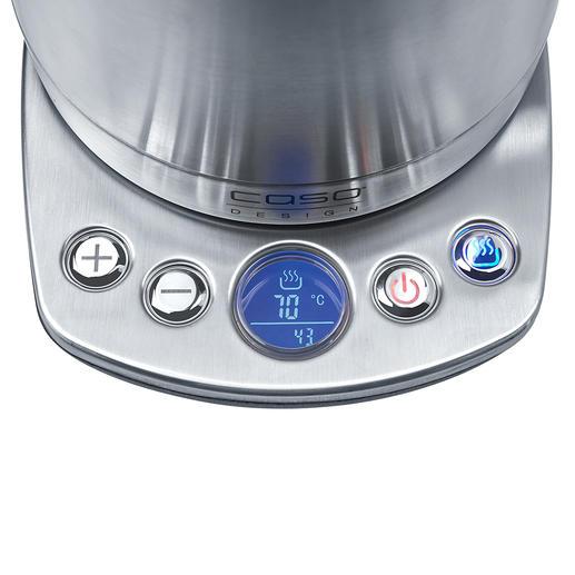 Während des Erhitzens und danach misst ein Sensor fortlaufend die aktuelle Wassertemperatur und zeigt sie im Display an.