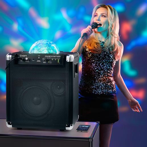 Portables Bluetooth Sound & Light-System - 7 Stunden Musik nonstop und cooles Disco-Licht. Ohne Stromanschluss. Ohne Kabel.