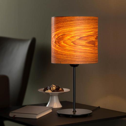 Design-Echtholz-Tischleuchte - Die einzigartige Tischleuchte mit wertvollem Olivesche-Furnier.