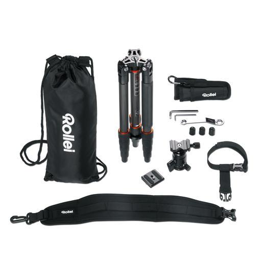 Professionelles, fototechnisches Zubehör inklusive Schultergurt, Stativtasche und Werkzeug.