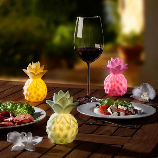 Leuchtende Baby-Ananas, 3er-Set - Sanftes Leuchten mit exotischem Flair. Batteriebetriebene Ananas-Leuchten setzen sommerfrische Akzente.