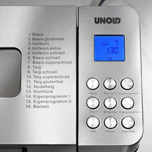 Von den insgesamt 16 Programmen sind 14 voreingestellte Automatik-Programme und 2 für eigene Rezepte