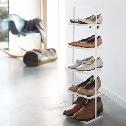"""Tragbares Schuhregal """"Tower"""" Elegant. Übersichtlich. Im puristisch-japanischen Design.  Verstaut 5 Paar Schuhe auf der Stellfläche eines Paares."""