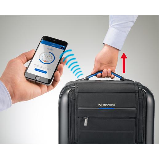 Kurz anheben und die eingebaute Digitalwaage meldet das Gewicht an Ihr Smartphone.