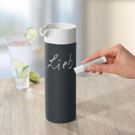 Self Cooling Karaffe Selbstkühlende Keramik-Karaffe in coolem Schwarz-Weiß-Design - mit Kreide beschreibbar. In Luxushotels im Einsatz.