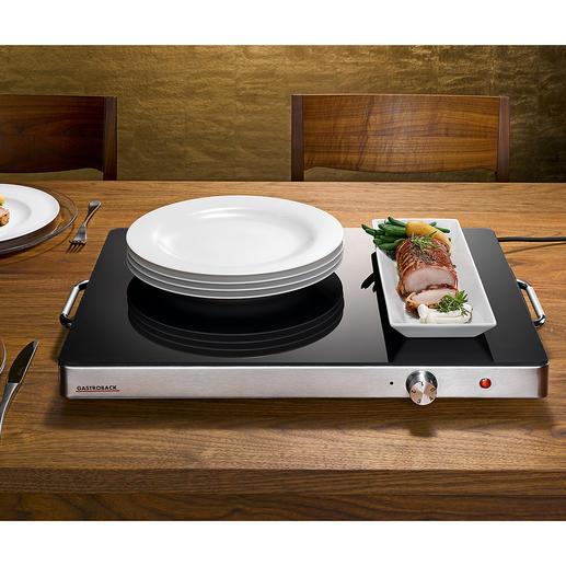Gastroback Profi-Warmhalteplatte XXL Auf enormen 2.220 cm² Heizfläche halten Sie spielend mehrere Speisen gleichzeitig heiß.