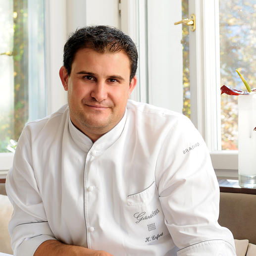 """Klaus Erfort, Chef de Cuisine im Saarbrücker """"Gästehaus Klaus Erfort"""", ausgezeichnet mit 3 Michelin-Sternen und 19,5 Punkten im Gault Millau."""