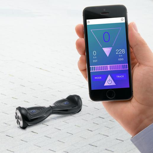 Via Smartphone können Sie Ihren Akkustatus und Geschwindigkeit überwachen sowie Ihre Fahrt aufzeichnen.