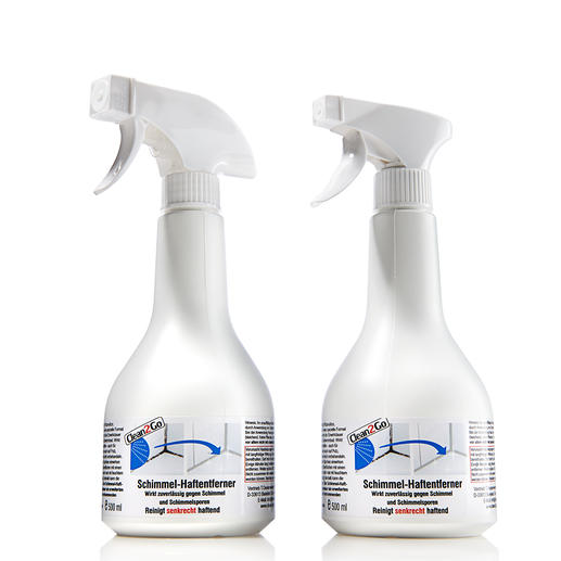 Spray'n go Schimmelentferner, 2er-Set (2x 500 ml) - Der bessere Schimmelvernichter: haftet selbst an senkrechten Flächen – statt uneffektiv abzulaufen.