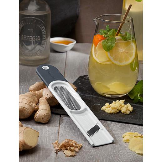 Microplane® Ingwerreibe 3-in-1 Das 3-in-1-Tool: schält, reibt und hobelt Ingwer im Handumdrehen.