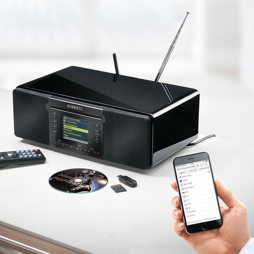 Roberts Komplett-Musiksystem stream 65i - Spielt FM-, Digital- und Internetradio, CD und MP3-Musik. Mit Bluetooth-Empfang, Aufnahme-, Konvertier- und Speicherfunktion.