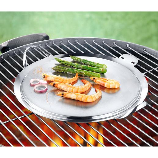 Mit dieser Plancha gelingen Speisen ohne großen Aufwand auf jedem Holzkohle-, Gas- und Elektrogrill.