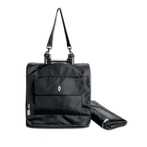 Separat erhältliche Yoyo+ Reisetasche aus 100 % Polyurethan, mit Tragegurt und Fronttasche.
