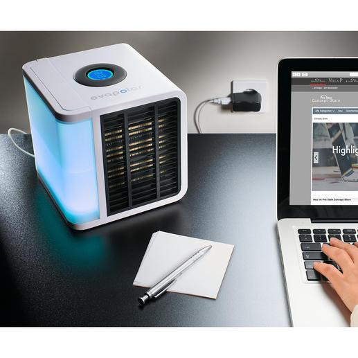 Personal Air-Cooler - Das wohl kleinste Klima-Gerät der Welt. Kühlt, befeuchtet und reinigt die Luft im Bereich von 3-4 m³.
