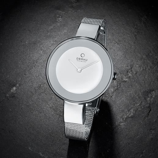 Milanaise-Armbanduhr - Leicht. Flach. Filigran: Armbanduhr und modisch schmales Armband in einem. Von Obaku, Dänemark.