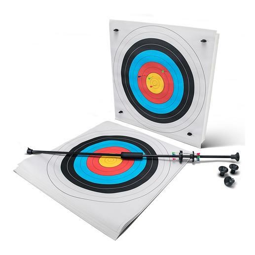 Das Starter-Set enthält 1 Blasrohr, 10 Zielscheiben, 1 Zielmatte, 4 Befestigungspins, 12 Blasrohr-Pfeile und insgesamt 4 Blasrohr-Mundstücke.