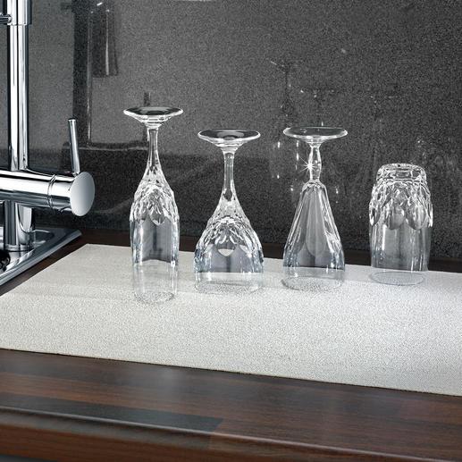 Gläser-Abtropfmatte - Extra dünn für sicheren Stand. Extra saugstark für randfreie Trocknung. Antibakteriell durch Kupfer.