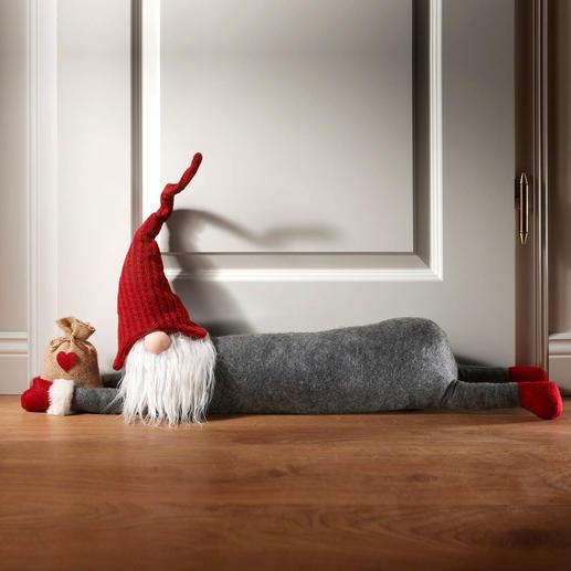 Zugluftstopper Weihnachten - Dieser knuffige Weihnachtswichtel lässt keine Zugluft mehr ins Haus. Und verbreitet fröhliche Festtagsstimmung.