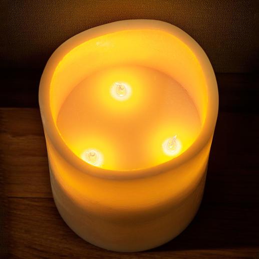 Die eingebauten LED-Leuchtmittel imitieren das sanfte Flammenspiel echter Kerzen.