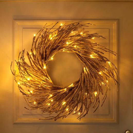 LED-Glitzer-Kranz, B-Ware - Stimmungsvoller Lichterglanz – wie von fernen Glitzersternen.