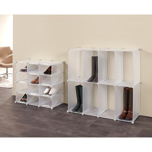 Schuh-Organizer oder Stiefel-Organizer Cubes Schuhe und Stiefel platzsparend und elegant verstaut. Variable Cube-Regale zum Zusammenstecken.