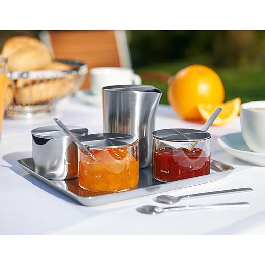 blomus® Basic Serie oder Löffel, 4er-Set - Zeitlos schönes Edelstahl-Design: das Quintett für Ihr perfektes Frühstück.