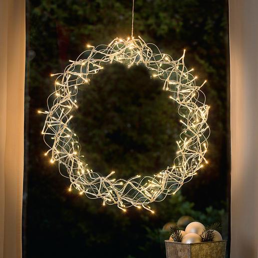 LED-Deko-Kranz Stimmungsvoller Lichterglanz. Aus elegantem Edelstahl.