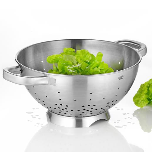 Edelstahl-Seiher Jamie Oliver - Der bessere Seiher: Standfuß mit Seitenöffnung für schnelleren Ablauf.