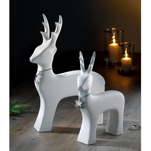 Stilvolles Rentier - Klare Linie, pures Weiß: das kunstvoll formreduzierte Rentier aus feiner Keramik.