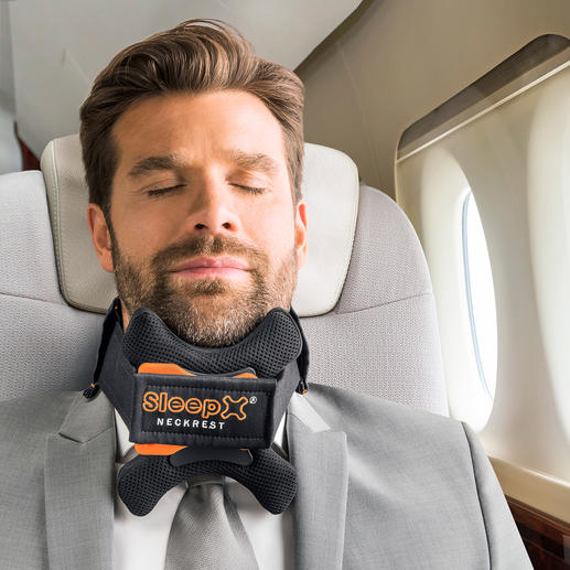 SleepX® Reisekopfstütze - Die bessere Reise-Kopfstütze: lässt Ihren Kopf während des Schlafs nicht mehr nach vorne fallen.