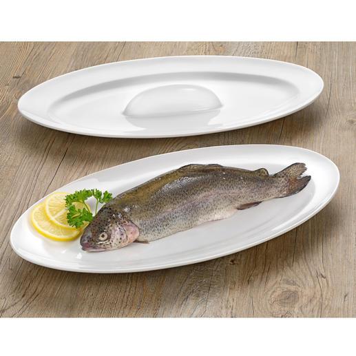 Fisch-Brat- und Servierschale - Saftig gebratener Fisch: Auf dieser genialen Ofenplatte einfach wie nie. Ohne kniffliges Wenden und Umsetzen.