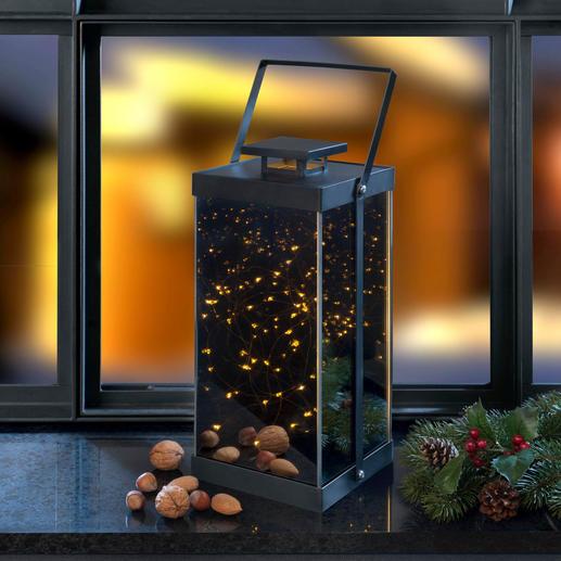 Funkelstern-Laterne - In dieser elegant verspiegelten Laterne funkelt unendlicher Sternenzauber.