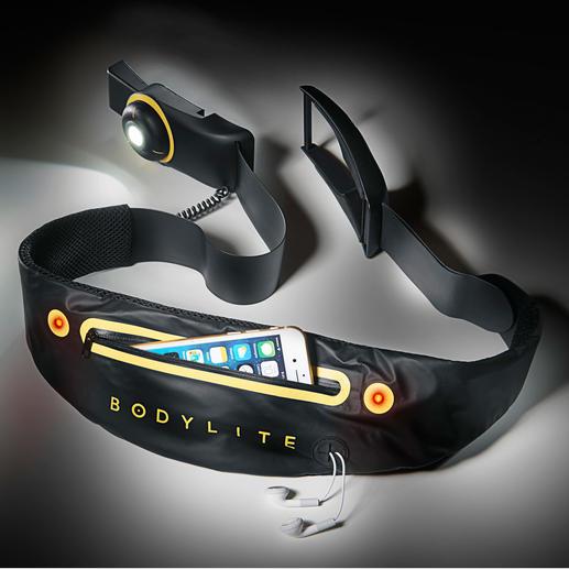 Der elastische Bodylite-LED-Gurt macht Sie für andere bei Dunkelheit gut sichtbar.