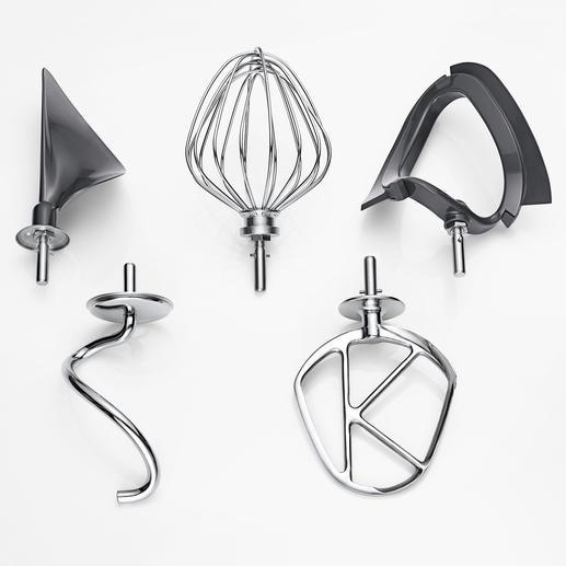 Mitgeliefert: 5-teiliges Patisserie-Set zum kraftvollen Kneten, Rühren, Mischen, Schlagen und Unterheben.