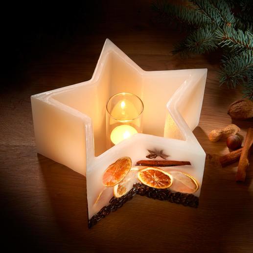 Stern-Windlichtkerze Genießen Sie den warmen Schein wertvoller Kerzen ... die nie abbrennen. Nur Wachs – und dennoch ein Windlicht.