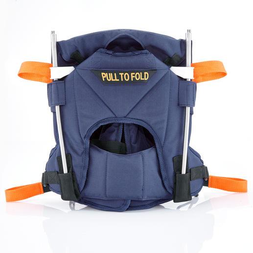 Zusammengefaltet praktisch im Rucksack, Reisegepäck oder Kofferraum zu verstauen.