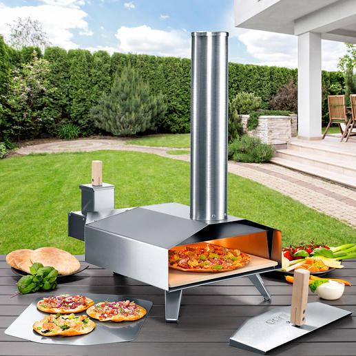 Kompakter Holz-Pizzaofen Ultrakompakt, mobil und in nur 10 Minuten enorme 500 °C (!) heiß. Für Ihre beste Steinofen-Pizza wie beim Italiener.