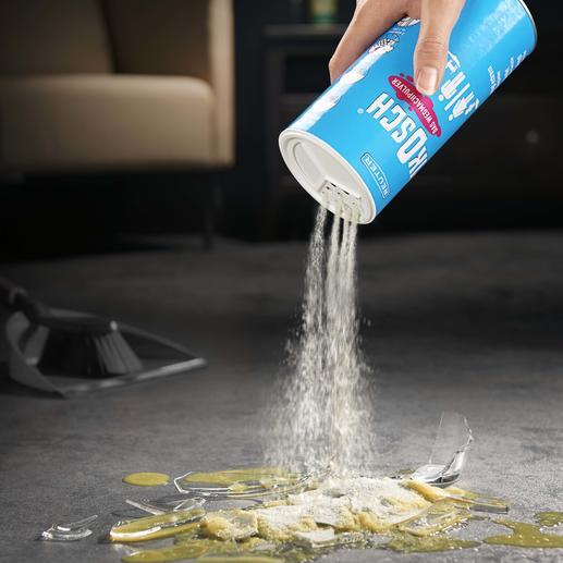 PIKOSCH Wegmachpulver - Bindet verschiedenste wässrige Flüssigkeiten – und lässt sich einfach aufkehren oder wegsaugen.