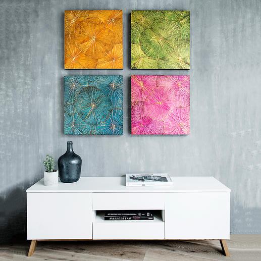 Lotosblätterkunst - Jedes Wandbild handgefertigt. In trendigen Farben und goldschimmernd überhaucht.