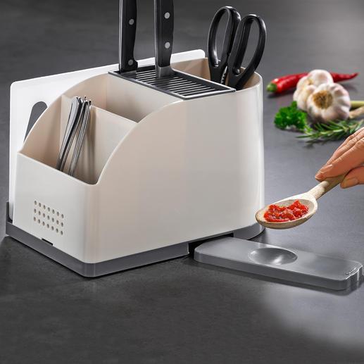 Küchentool-Organizer - Messerblock und cleverer Utensilien-Halter in einem. Hält sogar ein Schneidbrett und eine Kochlöffel-Ablage griffbereit.