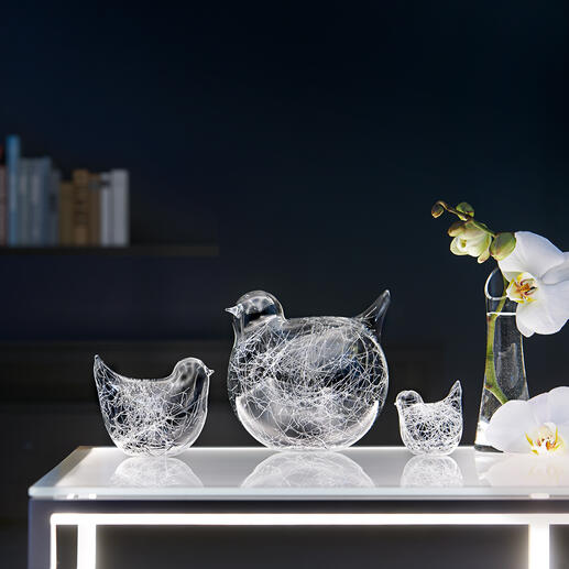Glasfäden-Vögel, 3er-Set - Charmante  Vogelfamilie aus mundgeblasenem Glas. Immer ein Unikat.