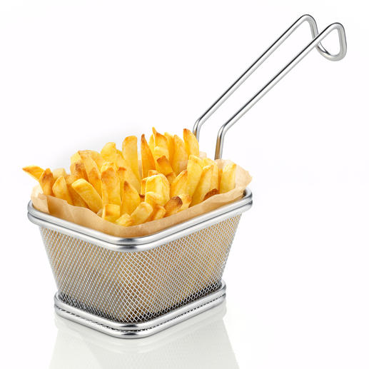 Servierkorb Street Food - Servieren im angesagten Street Food Style. Der Edelstahl-Korb für frittierte Snacks und Beilagen.