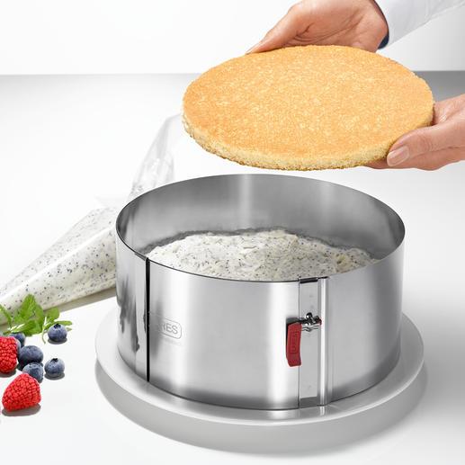 Mit 10 cm H (statt oft nur 6-7 cm) perfekt zum Aufbau kunstvoller Torten.