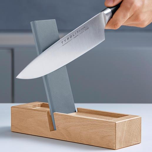 TYROLIT Premium-Messerschärfer Klingenschonend, sicher und schnell. Kompakter Kombi-Schleifstein mit voreingestelltem Schärfwinkel für europäische Messer.
