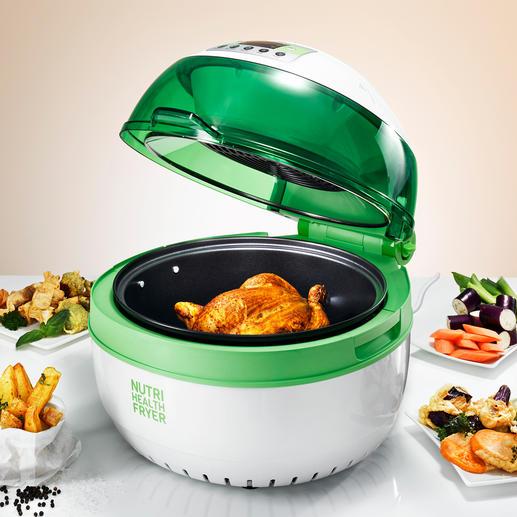 Health Fryer XL - Fett- und kalorienarm Frittieren, Backen, Braten, Sautieren, Garen und Grillen – sogar am Spieß.